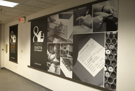 Hallway signage designed for Ethan Allen Headquarters