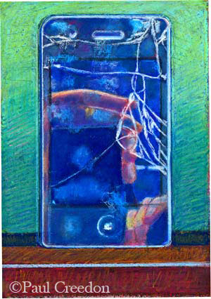 Modern tragedy, pastel of cracked iPhone