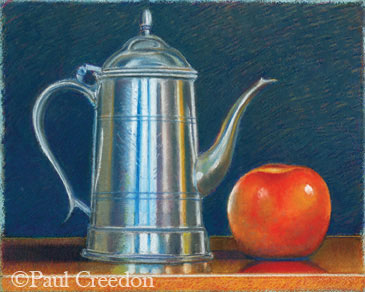 pastel still life of pitcher and apple