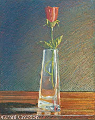Still life of rose and vase pastel