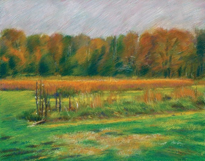 Pastel of fall field