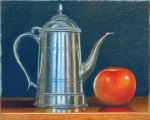 A pewter coffee pot and apple