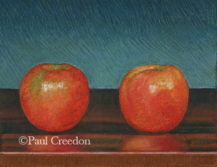Pastel of Two Apples