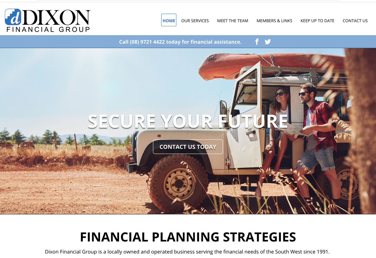Website sample clearly stating what they do: financial services.